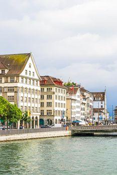 Streets and historic Old Town buildings near main railway train station Zurich HB, Hauptbahnhof, Swiss architecture and travel destination in Zurich, Switzerland