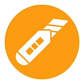 Construction utility knife vector white glyph icon
