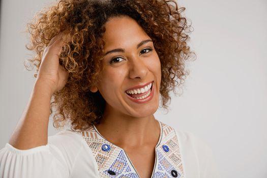 Beautiful African American woman smiling