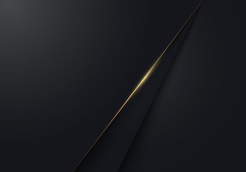 Abstract modern luxury minimal black paper cut background with with gold accent line