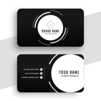 black business card with white circles