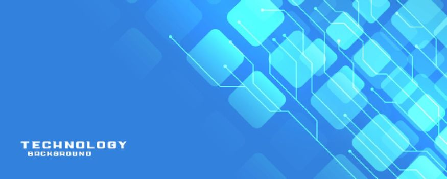 blue technology banner with circuit lines