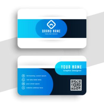 blue visiting card in curve style