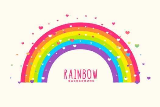 cute rainbow background with hearts background