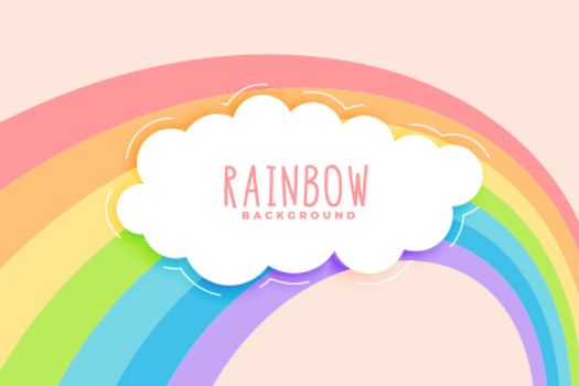cute rainbow and cloud in pastel colors background