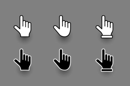flat hand finger pointer cursor set