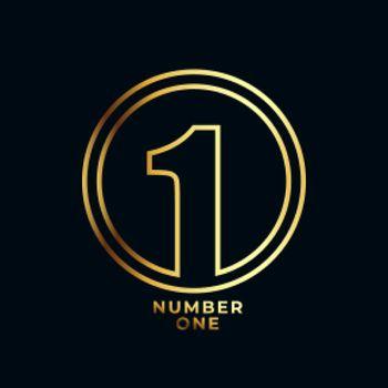 line style number one winner achievement label design