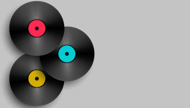 realistic music vinyl background design