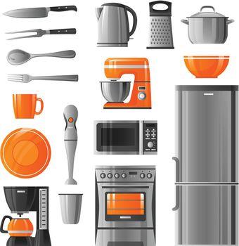 Appliances And Kitchen Utensil Icons Set