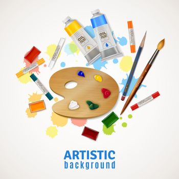 Artistic Background With Palette And Paints