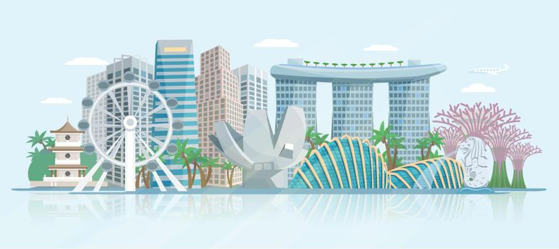 Singapore Skyline Flat Panoramic View Poster