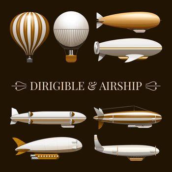 Balloon And Airship Icons Set