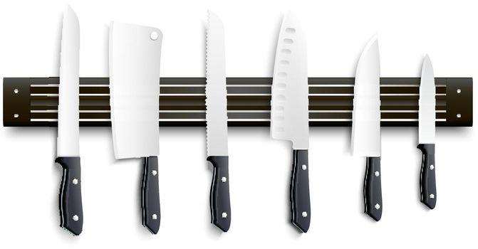Knives On Magnetic Strip 3D Illustration