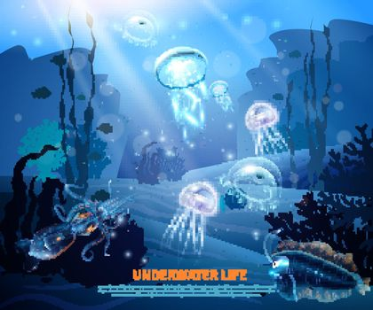 Underwater Life Background Light Poster