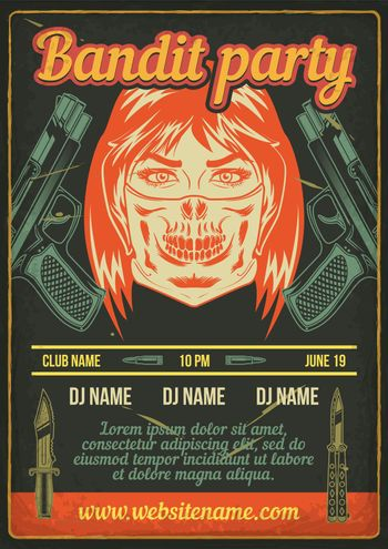 Advertising poster design with illustration of a bandit girl with pistols on vintage background.
