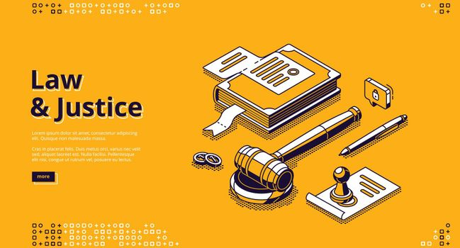 Law and justice isometric landing page legislation