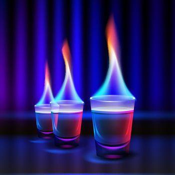 Burning alcohol shots