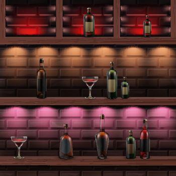 Wooden shelves with alcohol