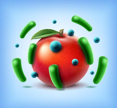 Apple with bacteria