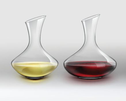 Decanters with wine