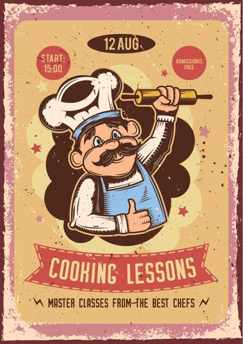 Advertising poster design with illustration of a baker with a rolling pin on the background.