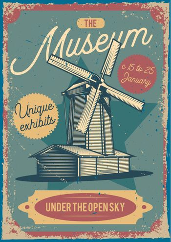 Advertising poster design with illustration of a mill on the background.
