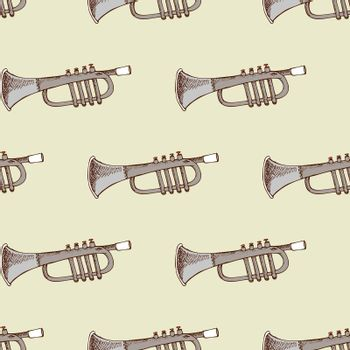 Background with musical instrument trumpet