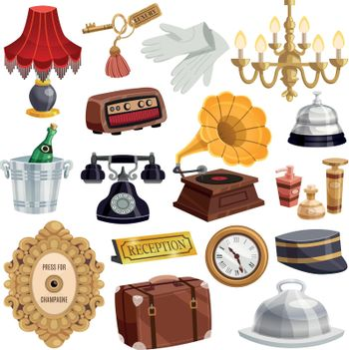 Vintage Hotel Staff Icon Set