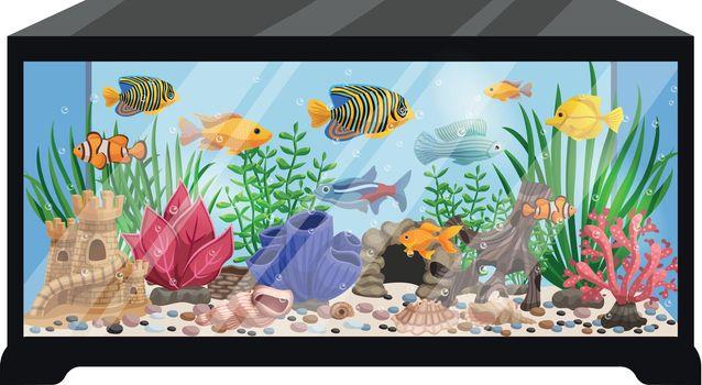 Aquarium Tank Cartoon Illustration