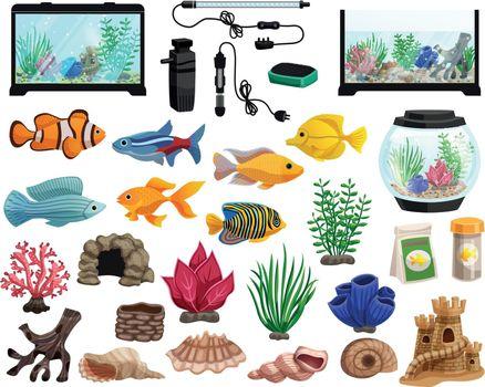 Aquaristics And Aquarium Fishes Set