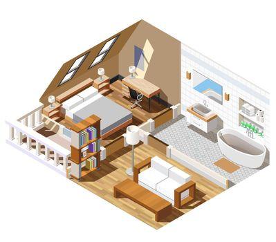 Apartment Interior Isometric Composition
