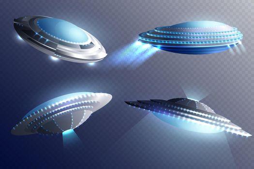 Alien Spaceships Transparent Background Set