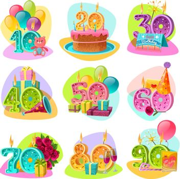 Anniversary Candle Numbers Retro Set