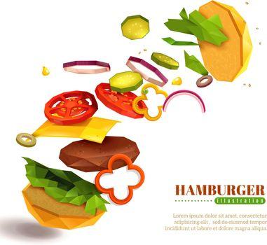 3D Flying Hamburger Illustration