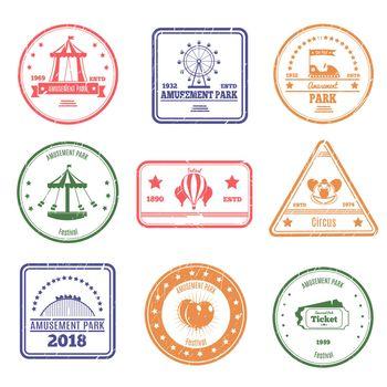 Amusement Park Stamps Set
