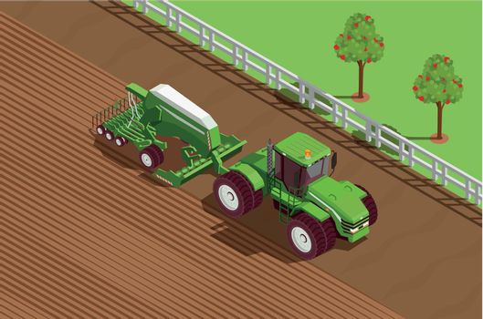 Agricultural Machines Isometric Background
