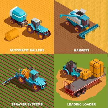 Agricultural Machines Isometric Concept Icons Set