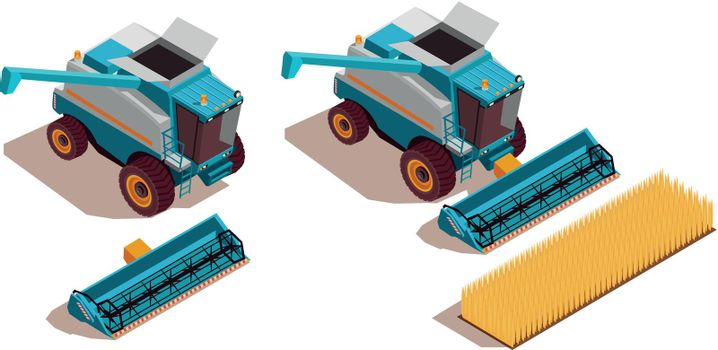 Agricultural Machines Isometric Set