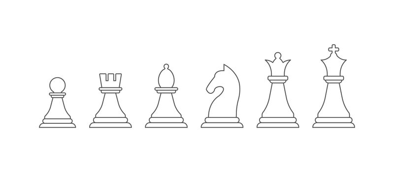set of chess pieces, an empty outline. Vector icon isolated on a white background. Flat design.