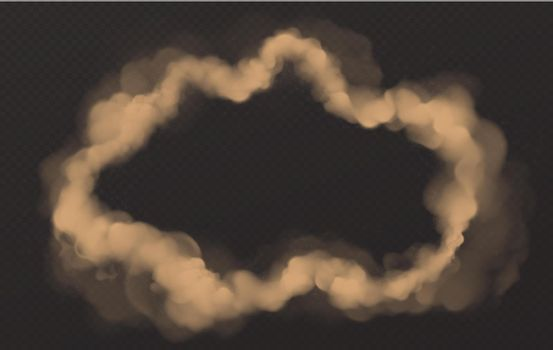 Smoke circle, round smog cloud, cigarette vapor