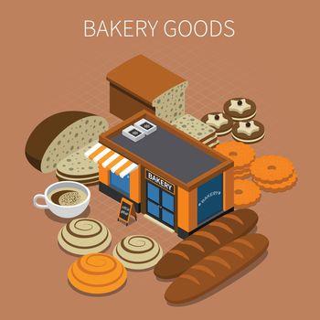 Bakery Goods Isometric Background