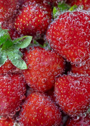 Fresh red strawberries with green leaves, in light sparkling water, covered with bubbles.