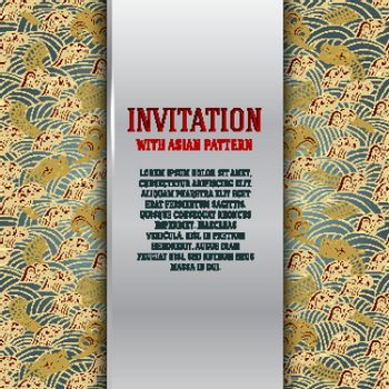 Asian invitation card with dragons and waves