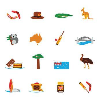 Australia icons set flat