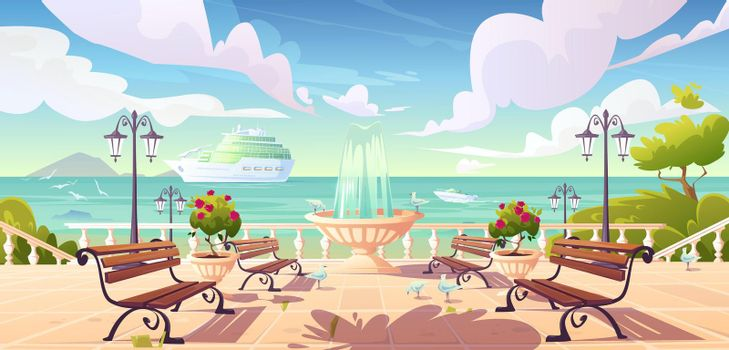Summer seafront quay with cruise ship in ocean