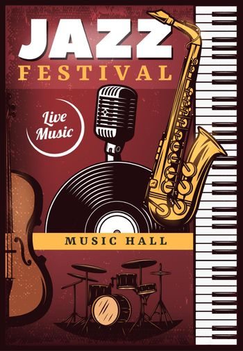 Vintage Colored Jazz Music Poster