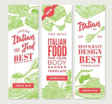 Vintage Italian Food Vertical Banners