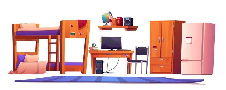 Hostel or student dormitory room interior stuff