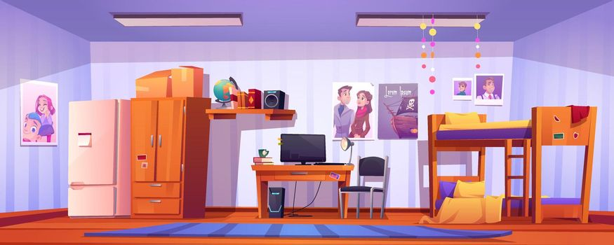 Hostel room, student bedroom in dormitory