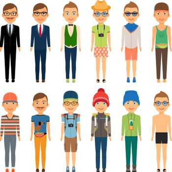 Cute Cartoon Boys in Assorted Clothing Styles